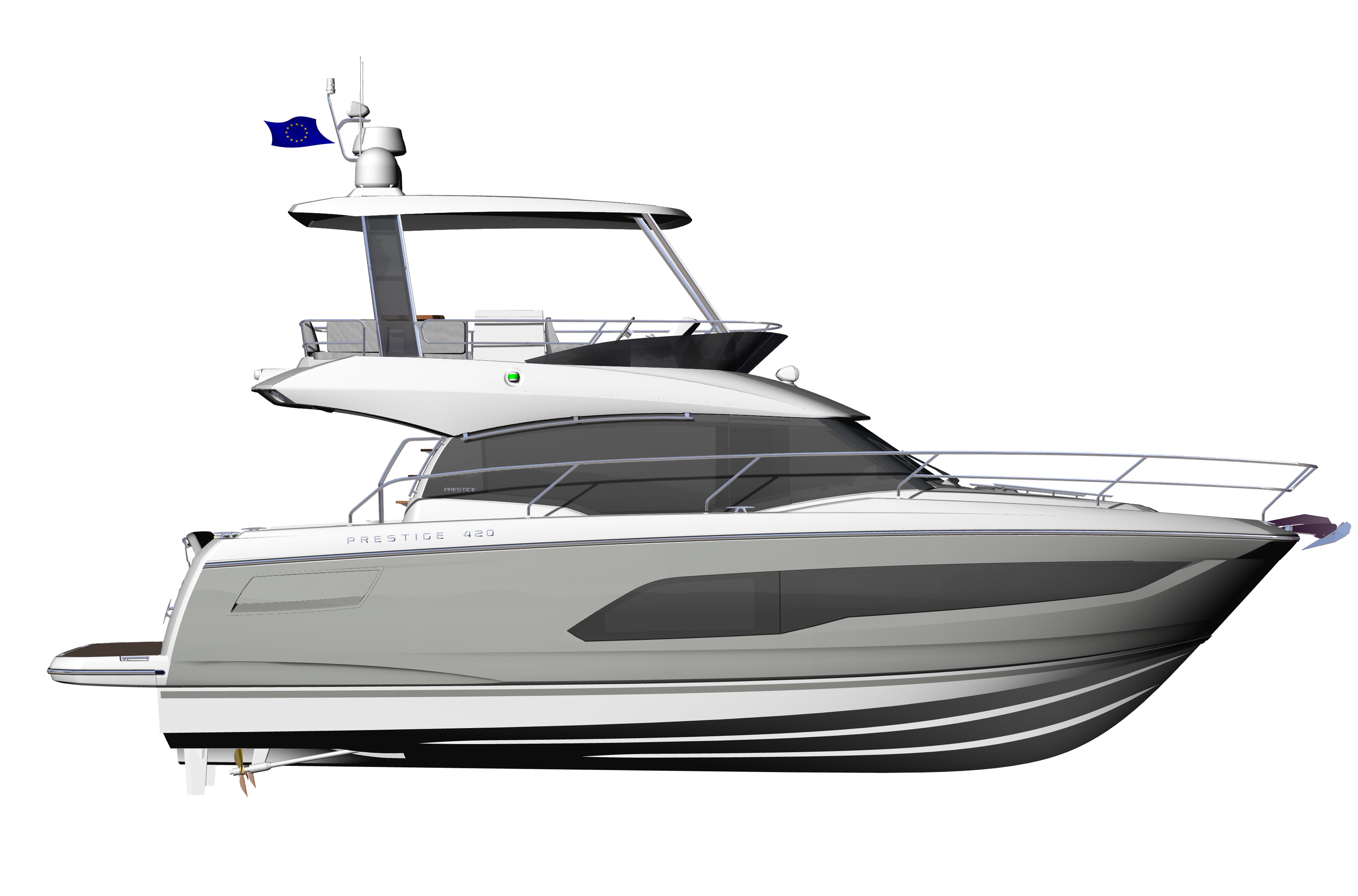 PRESTIGE-420---Profil---Hard-top---Grey-hull-